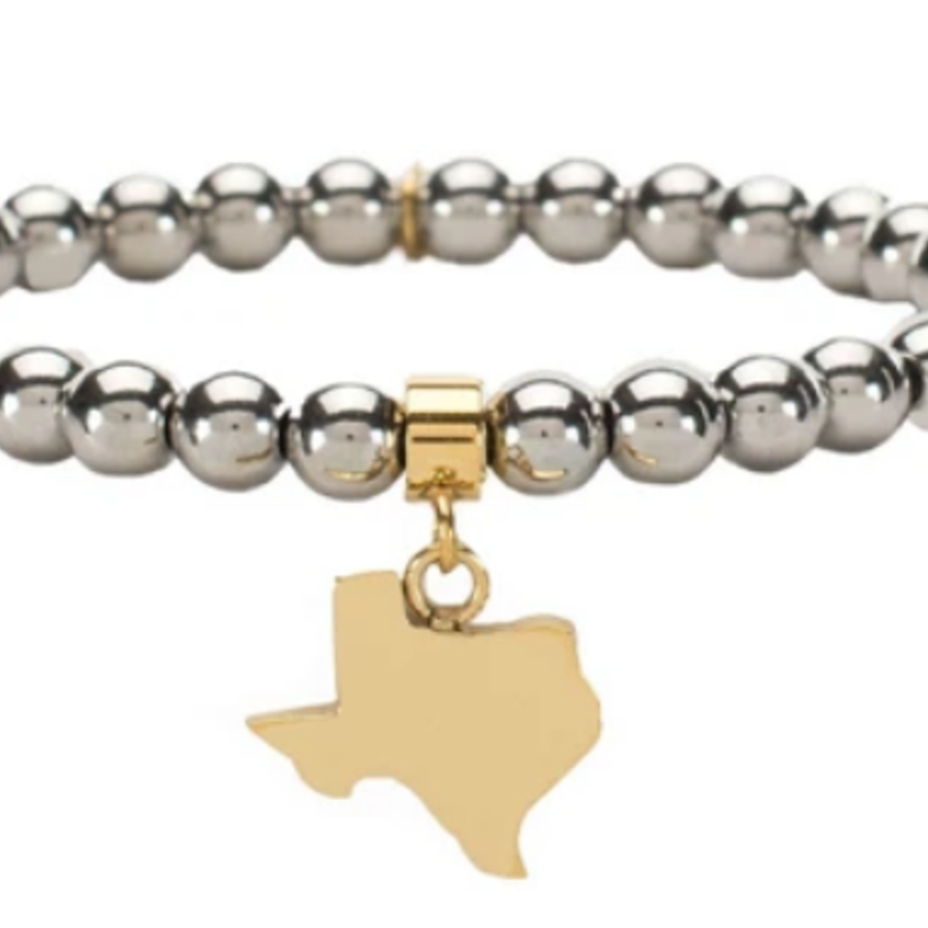 Rustic Cuff Ireland Texas Silver and Gold Bead Bracelet