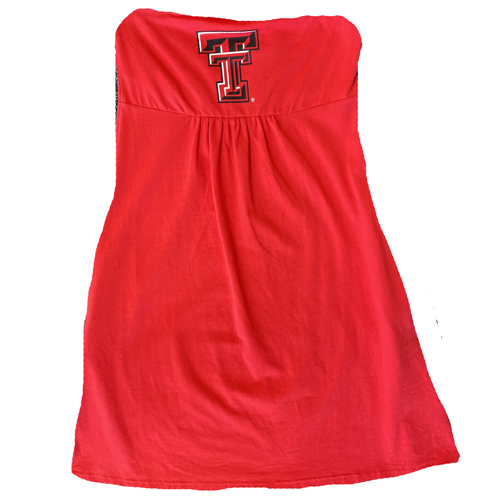 Strapless Red Knit Dress with Pockets