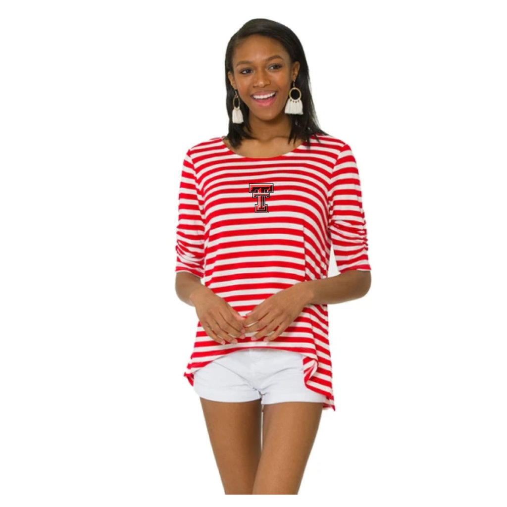 Holly Striped Hi Lo Scrunch Sleeve Tee