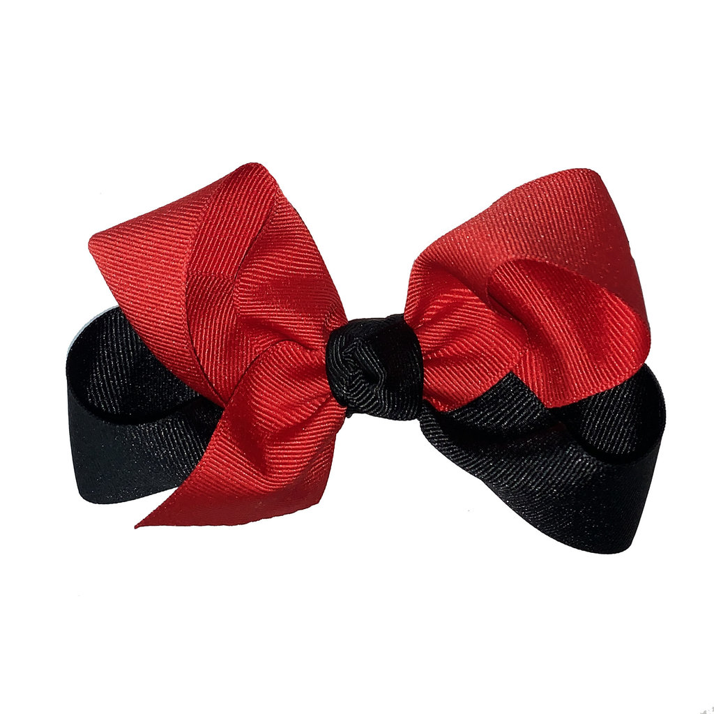 Three Sisters Small Hair Bow Red/Black Solid