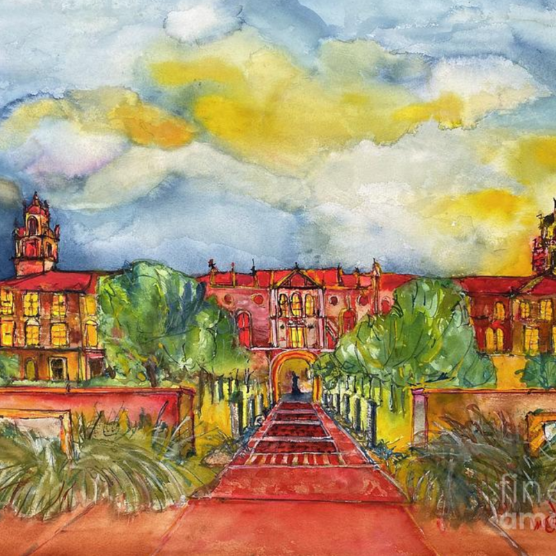 Bleep Watercolor Administration Building Framed Art