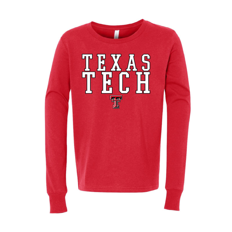 Outline Stack Texas Tech Youth Long Sleeve Tee