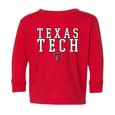 Outline Stack Texas Tech Toddler Long Sleeve Tee