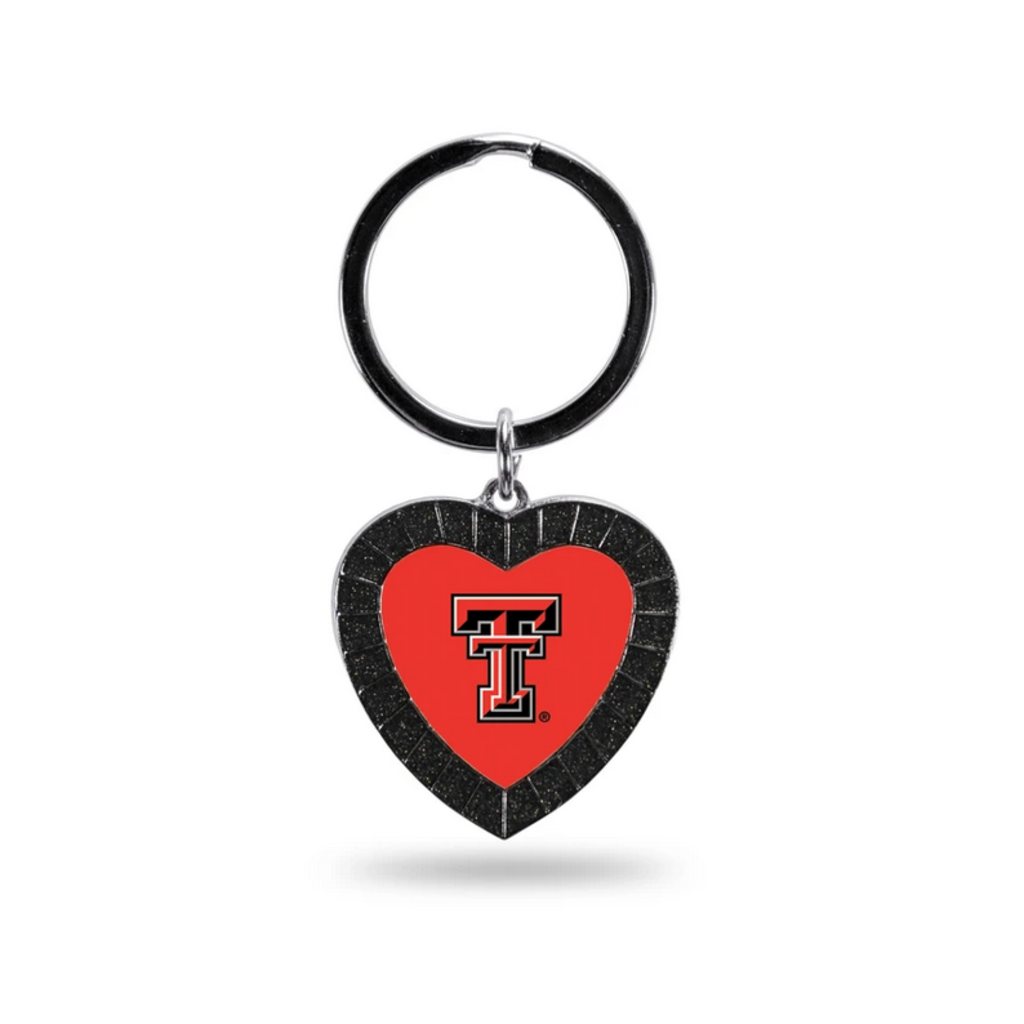 Black Rhinestone Heart Keychain