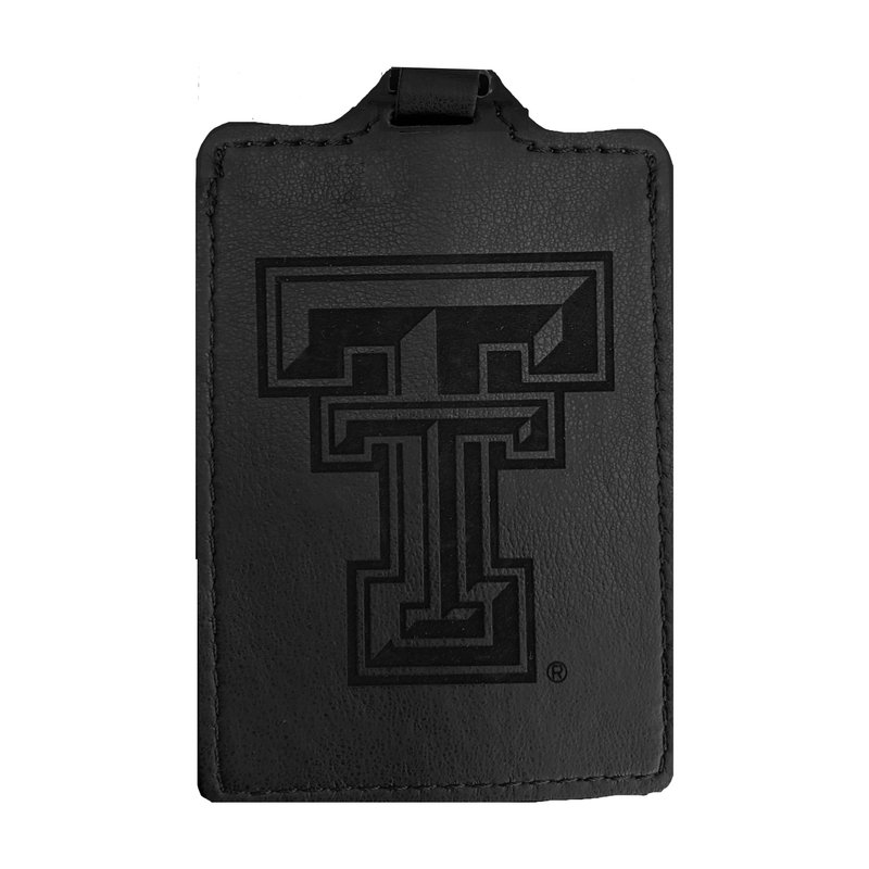 Laser Engraved Faux Leather Black Luggage Tag