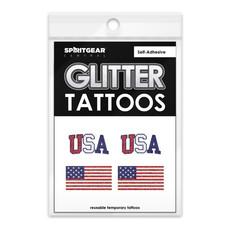 USA Flag GLitter Tattoo Pack of 4