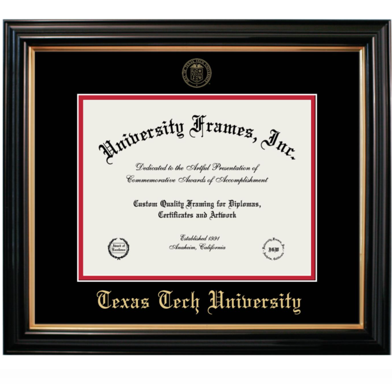 Gold Embossed Diploma Frame with Black Matte