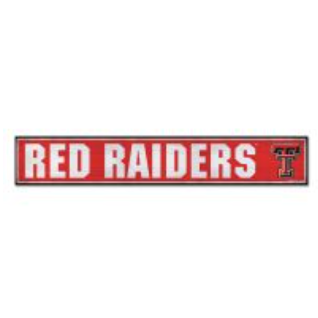 Red Raiders Rectangle Wood Sign 6x36