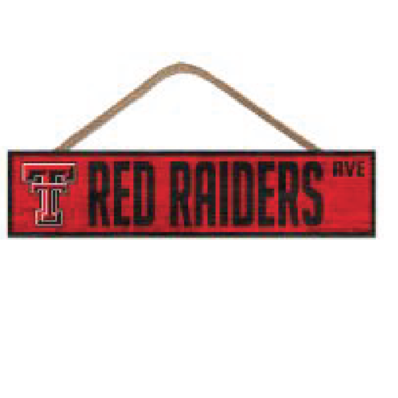 Red Raiders Ave. Wood Sign 4x17