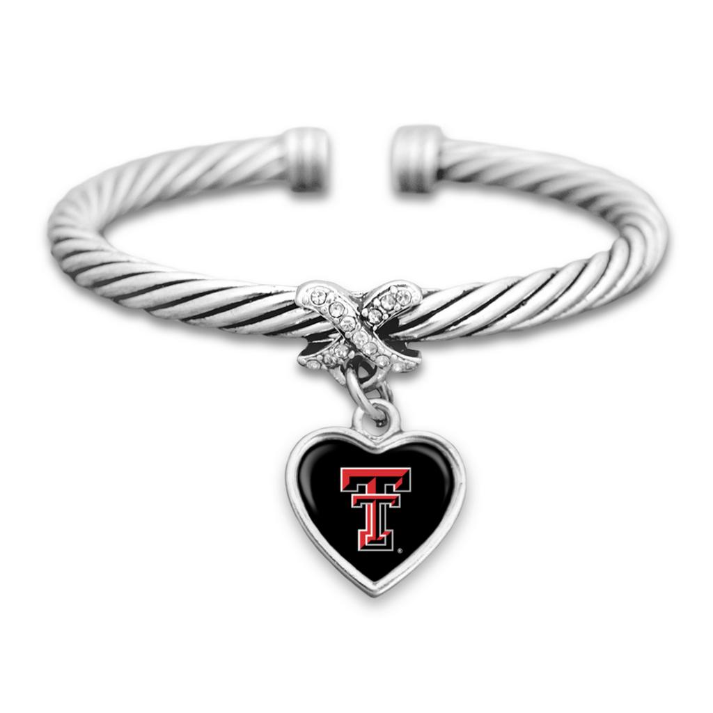 Mini Heart Cross Cuff Braid Bracelet