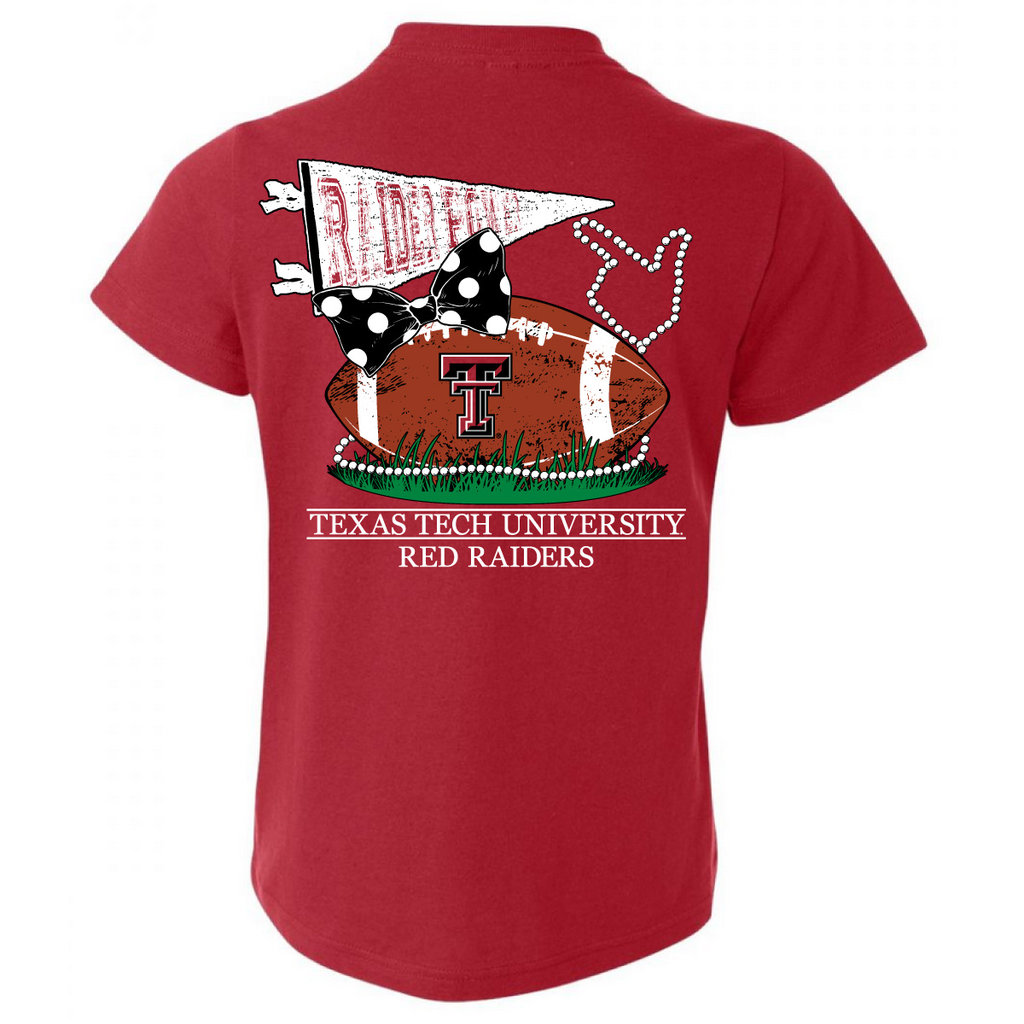 Football, Bows and Pearls Youth Short Sleeve Tee