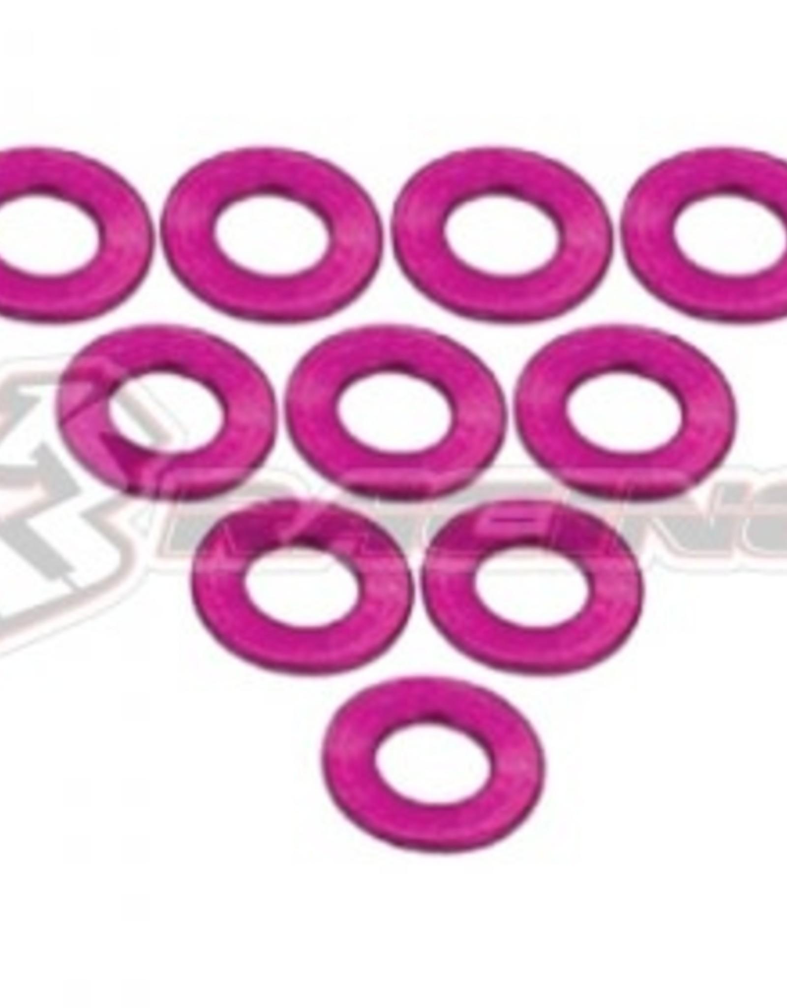 3Racing 3RAC-WF305/PK - Aluminium M3 Flat Washer 0.5mm 10 Pcs Pink - 3Racing