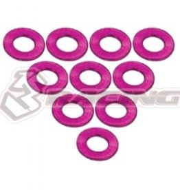 3Racing 3RAC-WF305/PK - Aluminium M3 Flat Washer 0.5mm 10 Pcs Pink - 3Racing