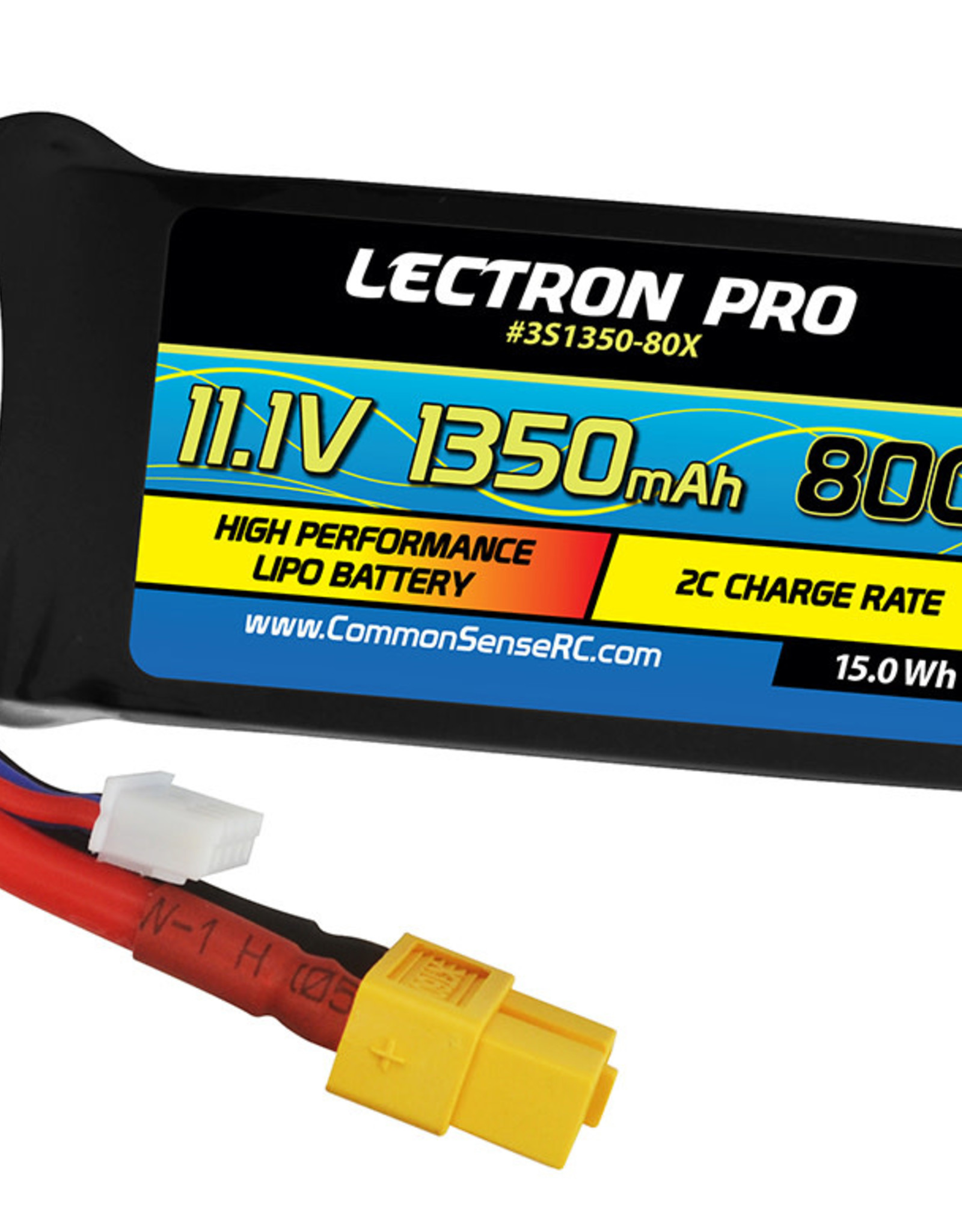 Common Sense Rc Lectron Pro™ 11.1V 1350mAh 80C Lipo Battery with XT60 Connector