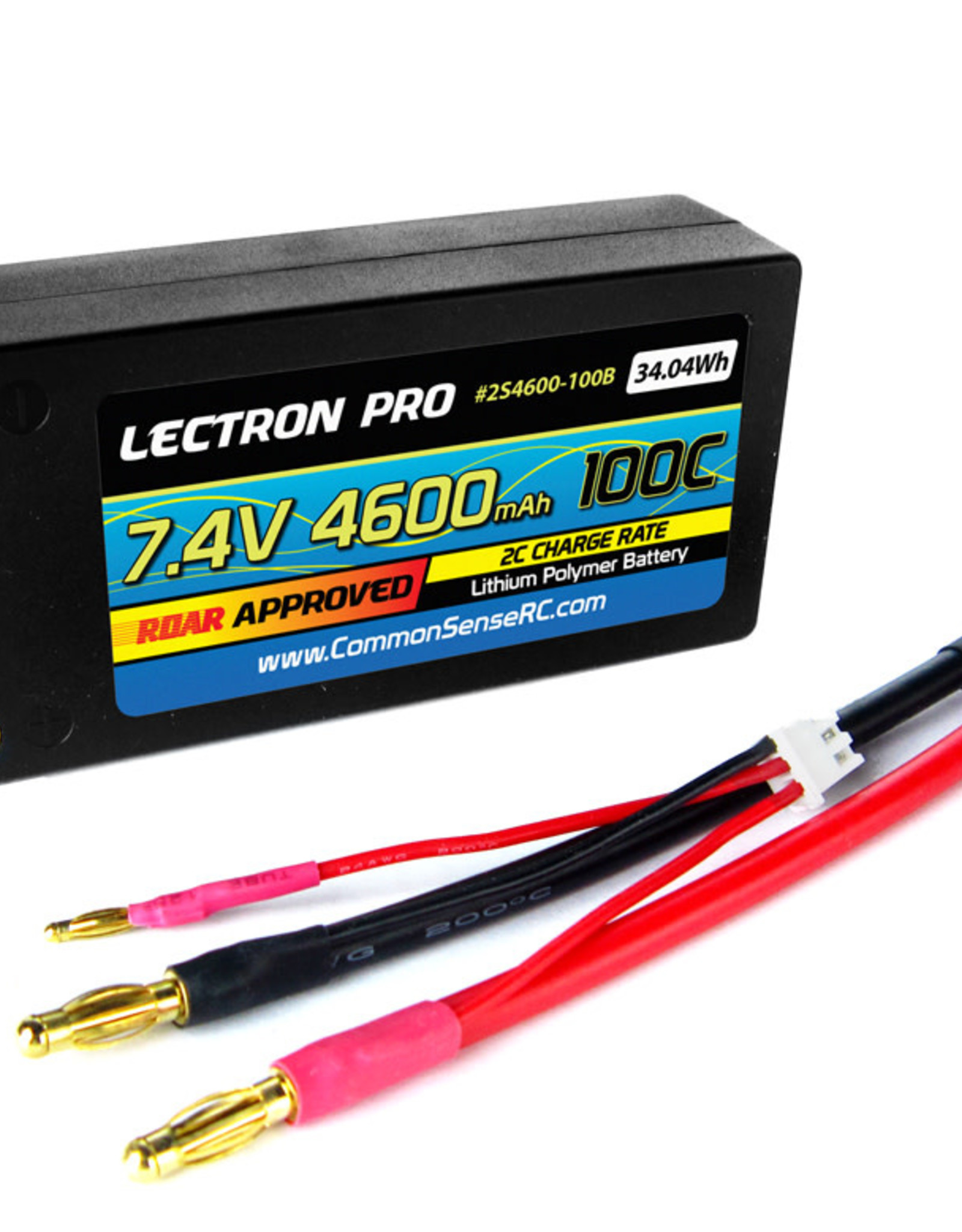 "Common Sense Rc Lectron Pro™ 7.4V 4600mAh 100C ""Shorty"" Lipo Battery with 4mm Bullet Connectors for 1/10 Scale Cars & Trucks"