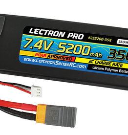 Common Sense Rc Lectron Pro™ 7.4V 5200mAh 35C Lipo Battery with XT60 Connector + CSRC adapter for XT60 batteries to popular RC vehicles