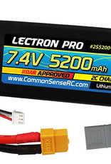 Common Sense Rc Lectron Pro™ 7.4V 5200mAh 50C Lipo Battery with XT60 Connector + CSRC adapter for XT60 batteries to popular RC vehicles