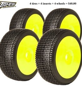 James Racing (4) James Y-Zip 1/8 Buggy Tire Pre-glued (Super Soft)