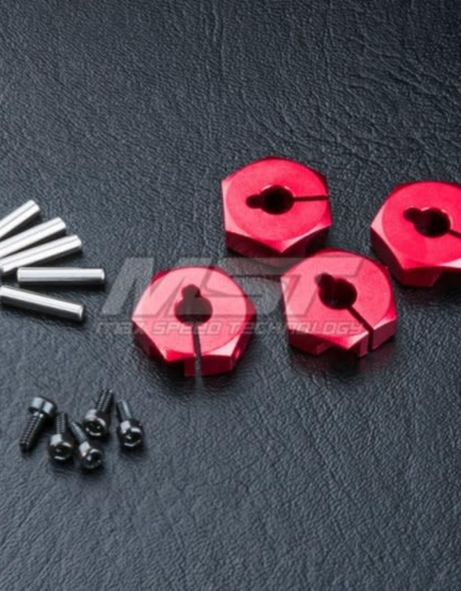 MST MXPSD820044R Alum. hex. wheel hubs 4mm (red) (4) by MST