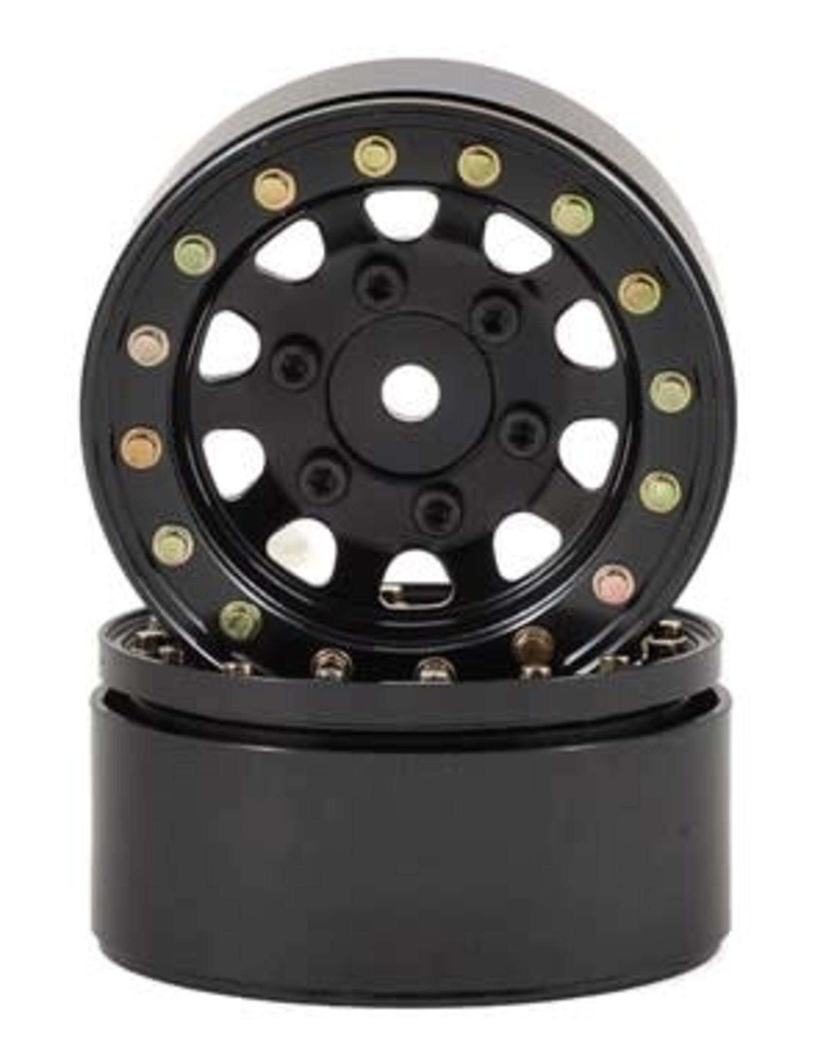 "SSD SSD RC D Hole 1.55"" Steel Beadlock Crawler Wheels (Black) (2)"