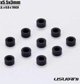 Usukani US88133 Usukani/7075 AL Spacer/Size:3.0x5.5x3mm/Black(10pcs)
