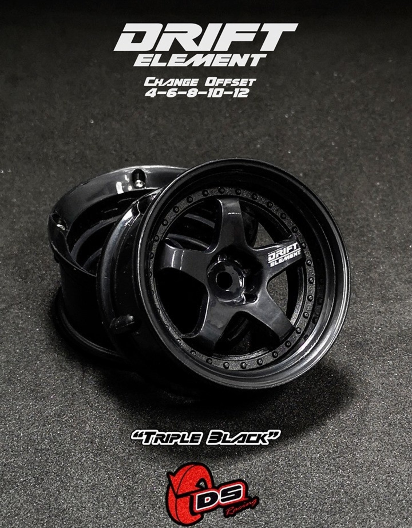 DS Racing Drift Element Adjustable Offset Wheels by DS Racing Black/Black