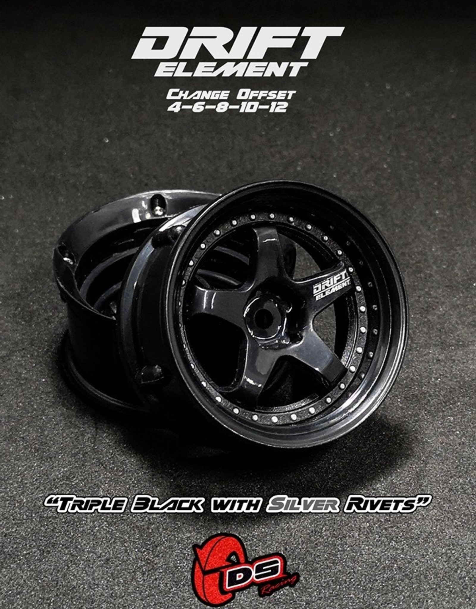 DS Racing Drift Element Adjustable Offset Wheels by DS Racing Black/Silver