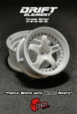 DS Racing Drift Element Adjustable Offset Wheels by DS Racing White/Black