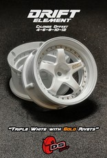 DS Racing Drift Element Adjustable Offset Wheels by DS Racing White/Gold