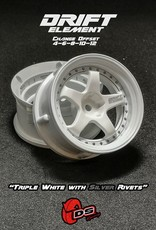 DS Racing Drift Element Adjustable Offset Wheels by DS Racing White/Silver