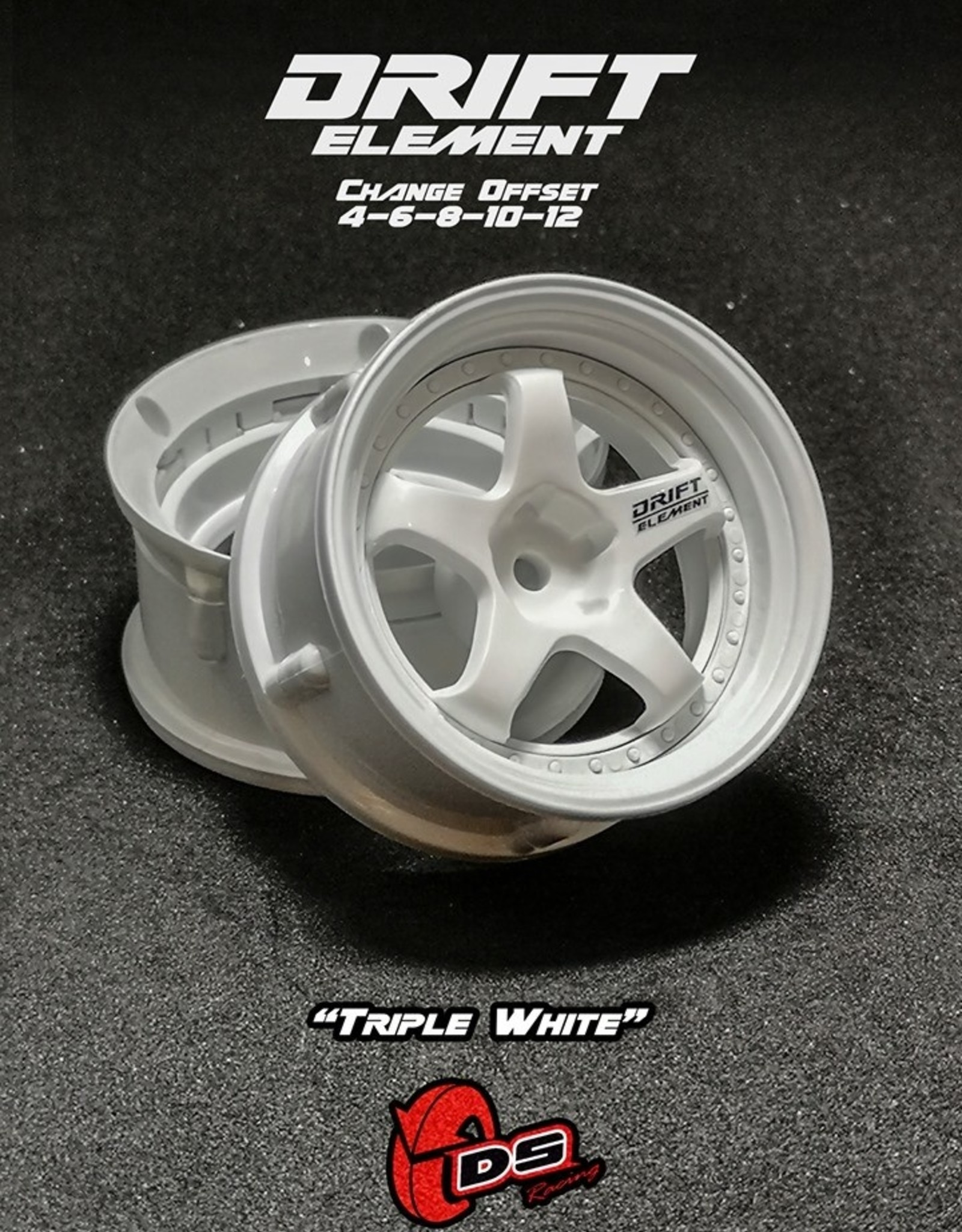 DS Racing Drift Element Adjustable Offset Wheels by DS Racing White/White
