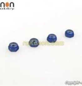 PN Racing PN Racing Alm. 2mm Wheel Lock Nut - Blue