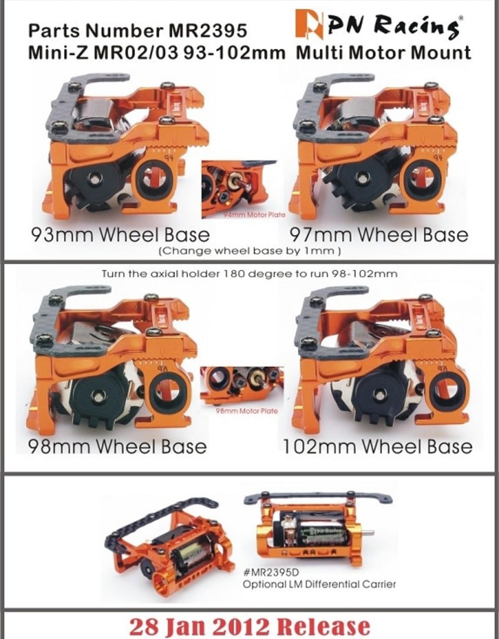 PN Racing PN Racing Mini-Z MR02/03 93-102mm Multi Motor Mount (Orange)