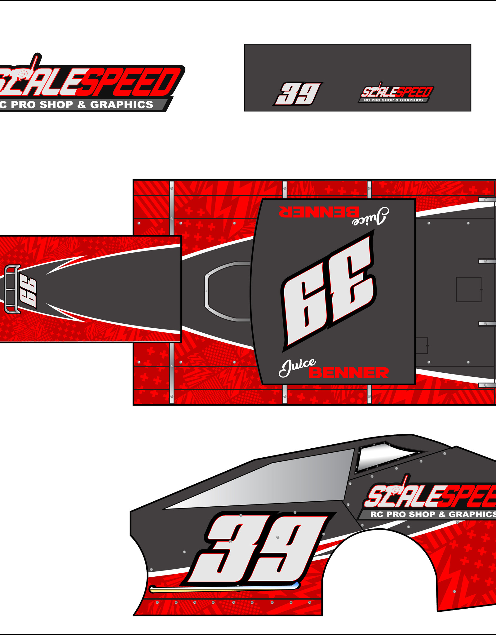 Scale Speed MudBoss Wrap - Style Bolt Stripe Star