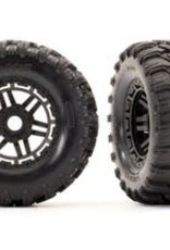 TRAXXAS Tires & wheels, assembled, glued (black wheels, Maxx All-Terrain tires, foam inserts) (2) (17mm splined) (TSM rated)