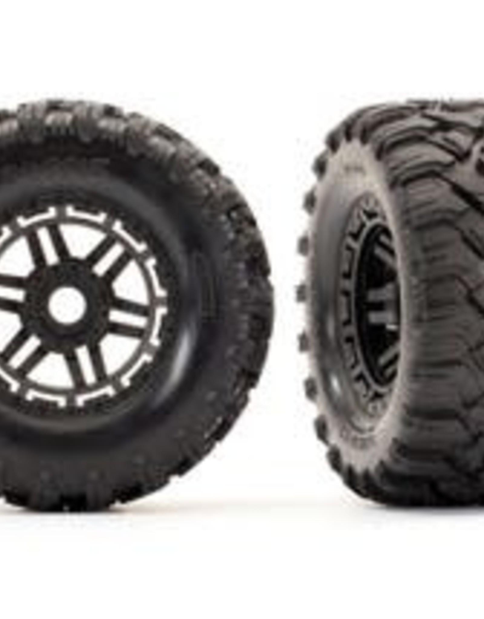 TRAXXAS Tires & wheels, assembled, glued (black wheels, Maxx All-Terrain tires, foam inserts) (2) (17mm splined) (TSM rated)