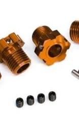 TRAXXAS Wheel hubs, splined, 17mm (orange-anodized) (4)/ 4x5 GS (4)/ 3x14mm pin (4)