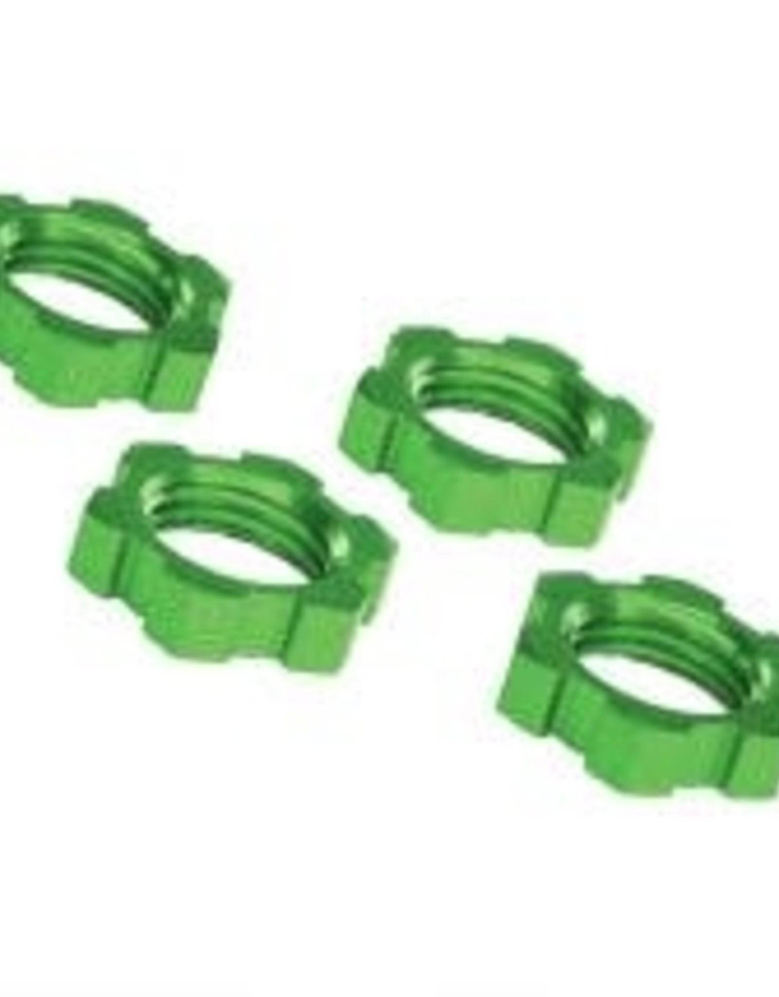 TRAXXAS Wheel nuts, splined, 17mm, serrated (green-anodized) (4)