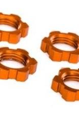 TRAXXAS Wheel nuts, splined, 17mm, serrated (orange-anodized) (4)