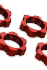 TRAXXAS Wheel nuts, splined, 17mm, serrated (red-anodized) (4)
