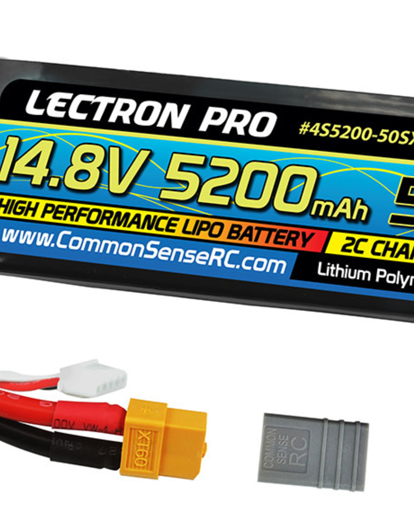 Common Sense Rc Lectron Pro™ 14.8V 5200mAh 50C Lipo Battery Soft Case with XT60 Connector + CSRC adapter for XT60 batteries to popular RC vehicles
