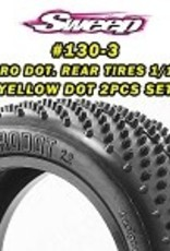 """Sweep Racing 10th Buggy 2.2"""" TURF Rear tire MICRO DOT Yellow compound 2pc set 130Y"""