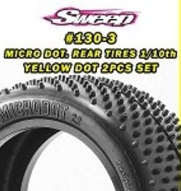 "Sweep Racing 10th Buggy 2.2"" TURF Rear tire MICRO DOT Yellow compound 2pc set 130Y"