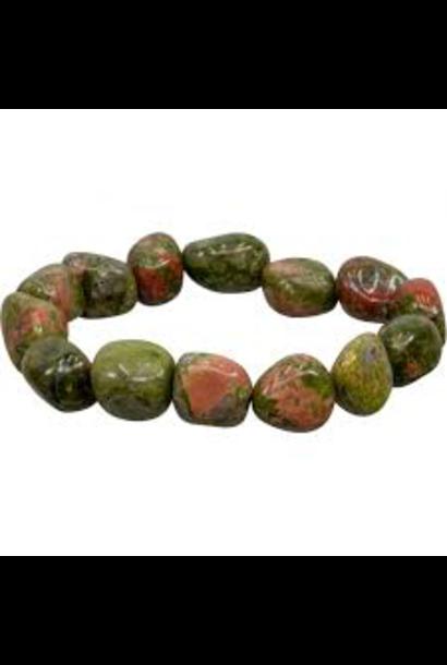 Tumbled Stone Bracelet | Unakite | 12mm