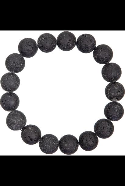 Tumbled Stone Bracelet   Lava Stone   12mm