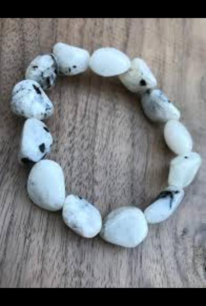 Tumbled Stone Bracelet | Rainbow Moonstone | 10mm