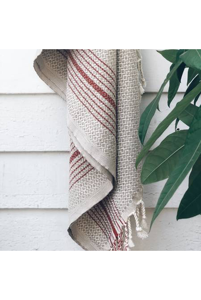 4035 - Turkish Towel - Blackrock Peshtemal - BEIGE w/ RED stripe