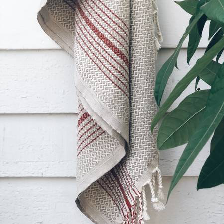 Black Rock Turkish Towel - Beige w/ Red Stripe-1