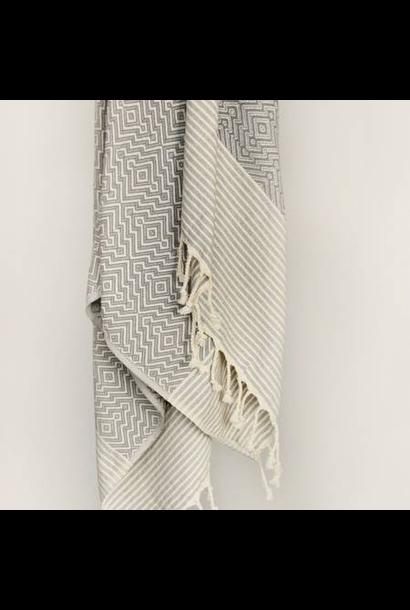 4036 - Turkish Towel - Yucca Peshtemal - GREY w/ Cream Tassels
