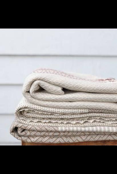4037 - Turkish Towel - Yucca Peshtemal - BEIGE w/ Tassels
